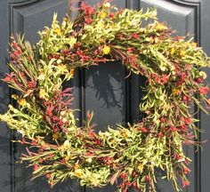 Spring Wreath  Year Round Floral Wreath by twoinspireyou on Etsy, $60.00