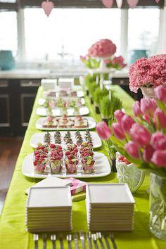 pink & green food buffet