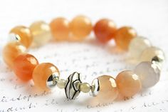 Stunning Agate Bracelet Stacking Statement Bracelet Sterling Silver Bead Round Gemstone Faceted Stones Orange Peach White on http://handmadeartists.com/shop/KapkaDesign