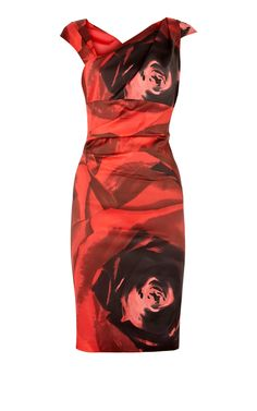 Karen Millen Signature statement Print Dress red Multi ,fashion karen millen outlet