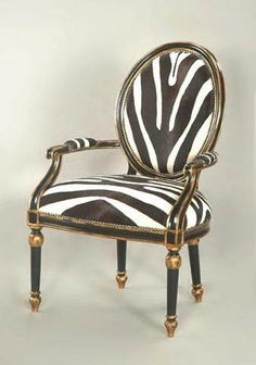 Furnish Fabulously. A fauteuil upholstered in zebra hide.