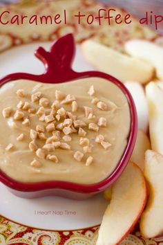 Caramel apple toffee dip.  1 8oz cream cheese softened; 3/4 cup brown sugar; 2 tsp vanilla; 1/4 cup heath toffee bits.  Combine cream cheese and brown sugar in a medium sized bowl. Stir in vanilla and continue to stir until smooth. Top with toffee dips and refrigerate until ready to serve. Enjoy!