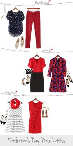 Love the top clothing selection of a blue blouse and red pants. I also love the bottom left dress option of the white dress and red scarf.
