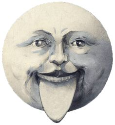 moon with tongue sticking out.  Don't hate me because I like it.    It's printable.