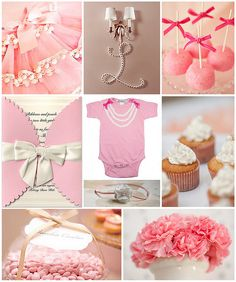 pink Bows & Pearls Baby girl Shower