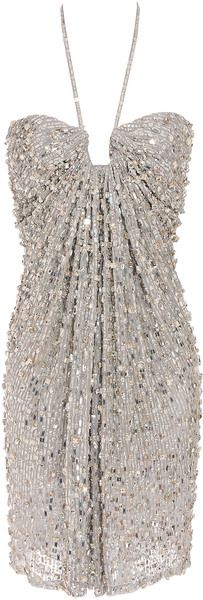 Exclusive Sequin and Crystal Embellished Strapless Dress
