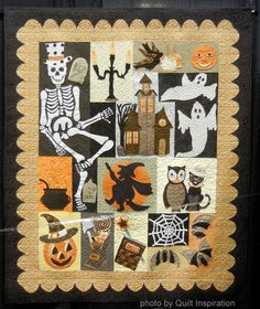 """Happy Hauntings quilt by Debra Elenbaas, quilted by Diane Beauchamp.  Pattern:  """"Happy Hauntings"""" by Verna Mosquera at The Vintage Spool.  Photo by Quilt Inspiration"""