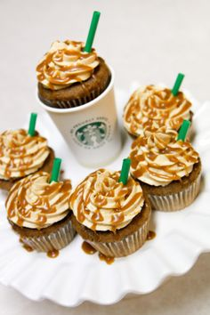 Starbucks Inspired Cupcake: coffee cake with coffee flavored buttercream and caramel drizzle. Yes please!
