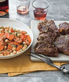 Spiced Lamb Chops With Chickpeas and Carrot Saute from realsimple.com #myplate #protein #vegetables