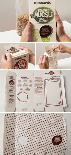 Buen ejemplo de doble utilización.  Packaging of the World: Creative Package Design Archive and Gallery: Hubbards Amazing Mueslis