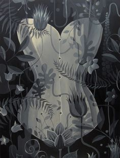 """""""Botanical corset"""" Acrylic painting on wood"""