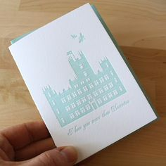 """I love you more than Downton"" letterpress card"