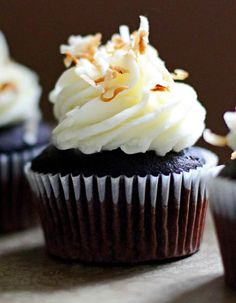 Nutella-Filled Chocolate Cupcakes with Coconut Cream Cheese Frosting