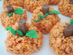 Rice crispies treats (w/ orange food coloring), half a tootsie roll