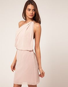 one shoulder dress with drape, in oyster