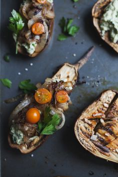 eggplant with artichoke chevre spread with fried onions