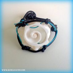 Conch Shell Black Leather Bracelet and Turquoise Cord  by Rum Cay Island Style