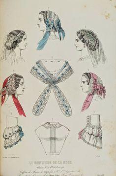 Caps, bridal veils and coiffures, pelerine, chemisette, and sleeve treatments, 'Le Moniteur de la Mode', French, 1858.