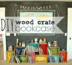 diy wood crate bookcase -- love all the colors, and the chalkboard wall and map