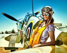 Fly aviat, plane, airplan, pilots, british, bikinis, art, spitfir, gun