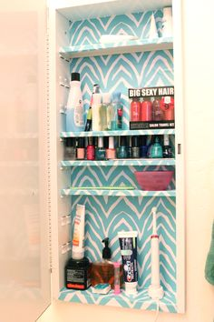 Medicine cabinet can be wiped clean and stays pretty with contact paper.  #homeorganization