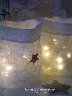 sacs en toile fine avec guirlande lumineuse à leds et .... à piles !!!!