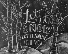 Let It Snow Sign - Birch Tree Decor - Chalkboard Christmas Decor - Illustrated Winter Sign - Chalkboard Art