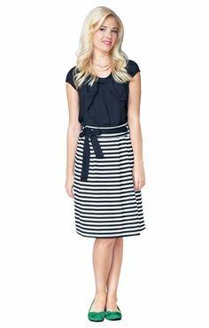 """""""Horizontal Striped"""" Modest Skirt in Black & White"""