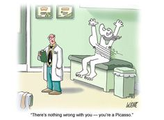 Landed at my dr & hoping for a creative diagnosis of my injuries from getting smashed into last week. Hehehe!