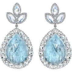 Irene Neuwirth Diamond Collection  Fine Aquamarine, Moonstone & Diamond Earrings  #jewelry #style #beauty #fashion #glamour #couture #designer #pinterest