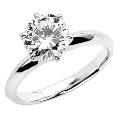14K White Gold Round-cut 1.25 CT Equivalent CZ Cubic Zirconia Ladies Solitaire Wedding Engagement Ring Band (Size 4 to 12) - Size 10.5  $195.00