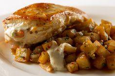Stuffed Breast of Chicken, Mushroom, Boursin, Fried Yukon Potatoes, Herbed Parmesan, Mushroom Jus   Flickr - Photo Sharing!  Damico