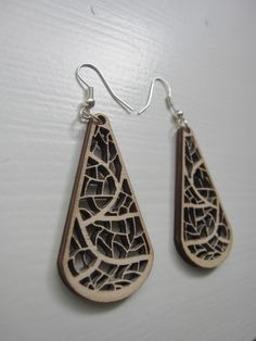 wooden laser cut earrings - organic leave nerves