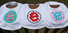 Set of 3 Personalized Applique Baby Bibs by AllieGatorGifts. Cute for a baby shower gift!
