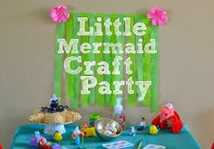 The Little Mermaid craft party with DIY Little Mermaid party decorations #DisneyPrincessPlay #shop #cbias