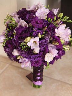 purple and white freesia wedding bouquet