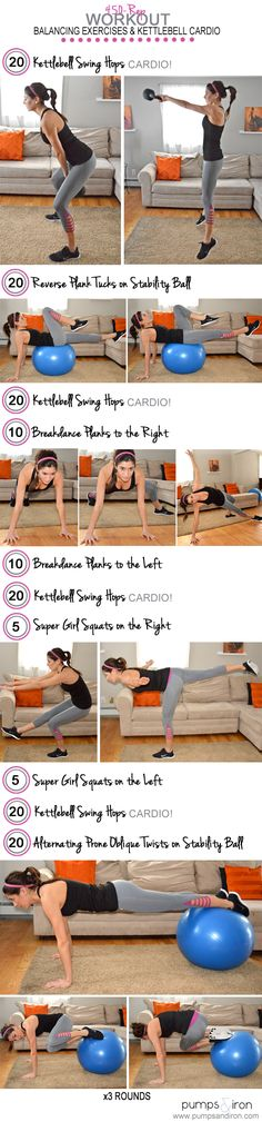 450-Rep Workout --kettlebell cardio mixed with balance and core exercises