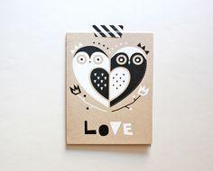 Owl Love Card, Screenprinted Card, Greeting Card. $5.00, via Etsy.