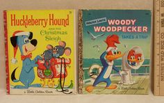 Huckleberry Hound And The Christmas Sleigh' Hardcover Book by Pat Cherr - 1960   'Walter Lantz Woody Woodpecker Takes A Trip' Hardcover Book by Ann McGovern - 1961 golden book, hardcov book