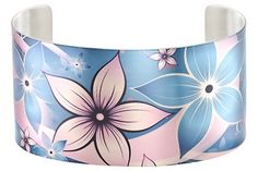 Tattooed Steel cuff bracelet in blue & purple floral design to get you ready for Spring