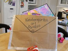 art portfolio - brown grocery bag? Great idea to have parents make one during Open House Night