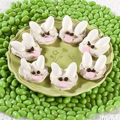 Easter Bunny Pretzels - so easy and so cute:  You use  •White Jordan Almonds  •White Chocolate Almond Bark  •Mini Twist Pretzels  •Pink Confetti Sprinkles  •Mini Chocolate Chips