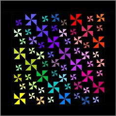 Starry Nights Quilt Pattern - Pinwheel Block Pattern - Whole Color Palette - by Pink Hippo Quilts