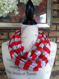 OSU, Red and Gray Striped Infinity Scarf, Scarlet and Gray Infinity Scarf, The Ohio State University on Etsy, $20.00