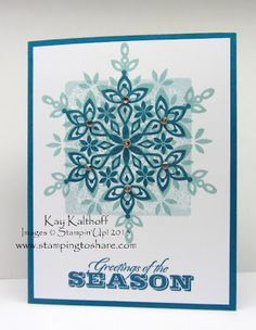 Christmas card using Stampin Up Festive Flurry stamps & framelits by Stamping to Share