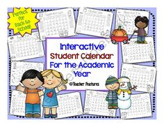 Interactive Student Calendar For the Academic Year (2014-15) from Teacher Features on TeachersNotebook.com -  (16 pages)  - Keep your students organized with these monthly calendar printables! Just print and hand out. Each month has an area for students to fill in �Notes� and �Goals�.