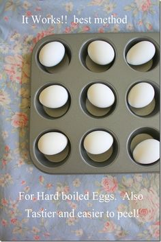 It works!  Best and easiest method for hard boiling eggs...in the oven! Tastier, and easier to peel. A MUST TRY
