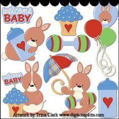 Baby Shower Bunny Clip Art (boys) - Original Artwork by Trina Clark