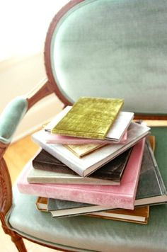 blue velvet, journal, wedding books, chair, guest books, recycled books, color, reading books, book covers