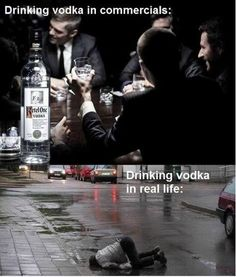 Vodka in advertisements and in real life